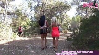 German tight petite 18yo brunette and blonde teen threesome