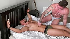 Tied up bare feet hunk Ryan Yule softcore tickling torment