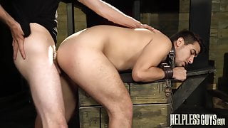 Jock Valentino Moran chained before anal domination