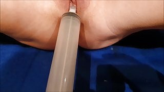 playing with stranger's cum injected with syringe