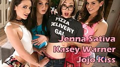 Pizza delivery girl joins to lesbian teens
