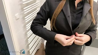 assistant undress after work sexy shower, business-bitch