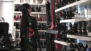 Elasia fully covered with her latex catsuit