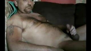 Horny hot daddy bear shoot cum far