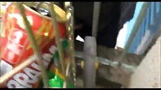 Str8 worker jerk for her pussy below the balcony