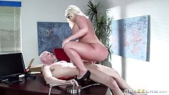 Busty Julie Cash gets bent over her desk and fucked hard in the office