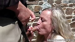 Couple joins mature couple for hot outdoor foursome fuck