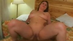 Chubby with shaven pussy Masturbating and riding cock-3