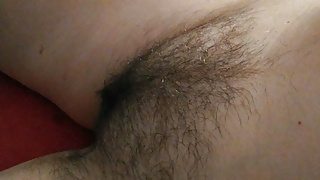 Mandy's extreme fat, hairy pussy & ass close-up trimming, POV