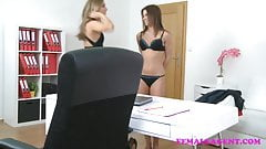 FemaleAgent Sexy lesbian orgasms during casting