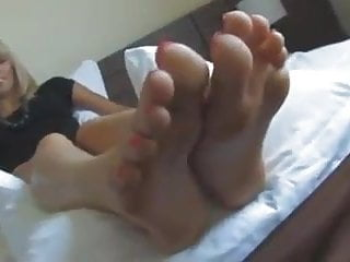 Sexy shoes for large feet - Sexy blonde shows off large feet