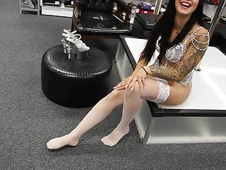 Sexy high heels white ankle strap High heels white stockings