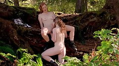 Beautiful hairy lesbian redheads have sex in nature