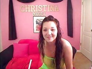 Big tit lingerie model Christina models lime green 2