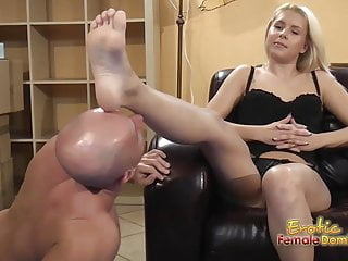 Tell wife about foot fetish Blondes tells submissive to lick and eat feet