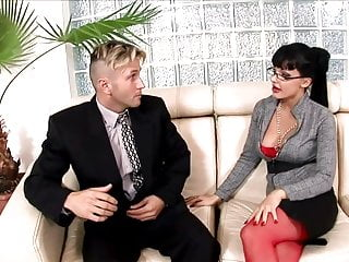 Mature horny secretary Horny secretary fucked on a couch in lingerie