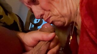 Granny gets cumshot in mouth and spits, No.2