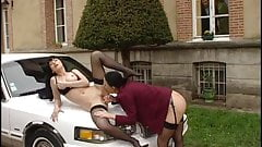 Stockings Caty & Veronica Sinclair Gets Fucked on the Car