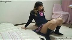 Japanese girls room to peep for 24h. Her exercise in uniform