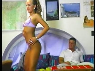 Finger fuck strip tease Blonde girl is doing a strip-tease and fuck