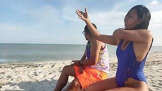 Latina fucks her stepbrother on the beach