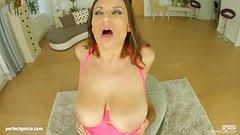 Sensual Jane big tit hottie gets her boobs fucked hard by