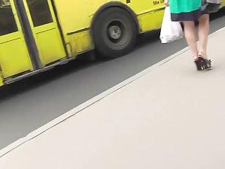Black women thong butts ass crack in high heels - Upskirt blonde, high heels and black thong