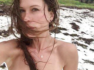 Topless british tits Rhona mitra - topless on beach