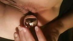 Slutwife pulling anal beads