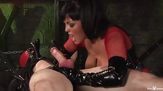 Big titted brunette in red likes to have fun with sex slave