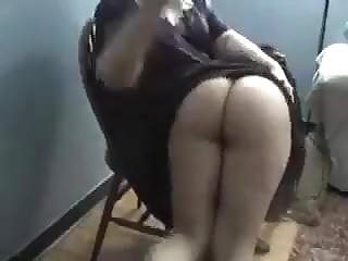 Held over the knee and spanked Bubblebutt over the knee