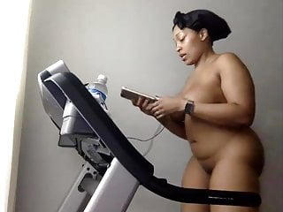 Healthy cock Natural woman working out - staying healthy - nudist