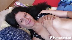 Brunette with small tits fools around a bit