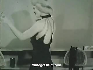 Clothing shopping vintage Smart blonde taking off her clothes 1950s vintage