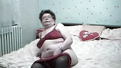Granny horny masturbating and orgasm