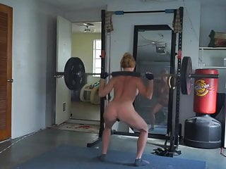 Gay fitness and workout community Ginger girl with fit body doing some more workout on webcam