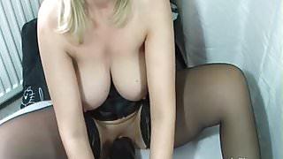 Colossal dildo fucking mature amateur slut