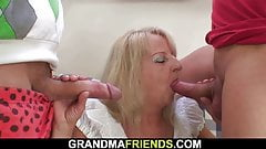 Boozed old grandma joins hot party