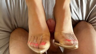 Hot Girl in Heels Sucks and gives Footjob with Huge Facial