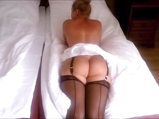 Stockings and heels ass In white and blue micro skirts stockings corset and heels