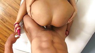Big butt slut in amini skirt rides fit hunk reverse cowgirl