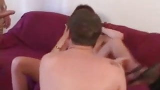 Redhead mature with stocking fucks in a long run, Anal & DP