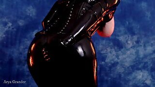 Shiny latex rubber catsuit curvy kinky female Arya Grander
