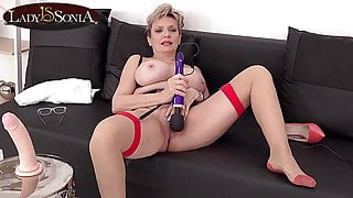 Busty British mature Lady Sonia plays with her vibrator