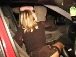 Nancy silk pantyhose Nancy sucking stranger in auto parking