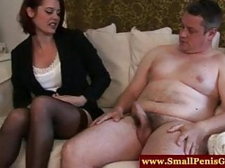 Tiny cock gay Cfnm mistress makes tiny cock jizz