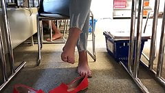 Big blonde german candid feet at university with face