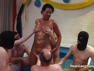Real moms anal - Oiled moms first real gangbang