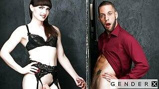 Trans Hottie Natalie Mars Takes Huge Cock Through Glory Hole