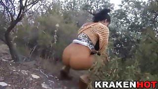 Krakenhot - Brunette having fun outdoor in a homemade video